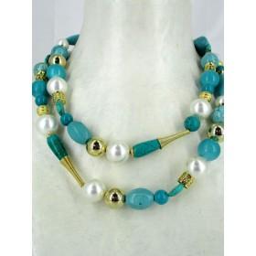 Sautoir Vintage en Turquoise et Perles