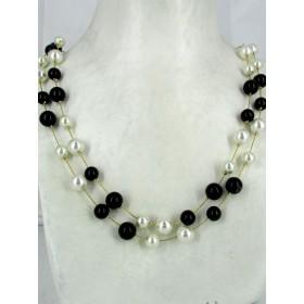 Collier Vintage avec Perles Noires et Blanches