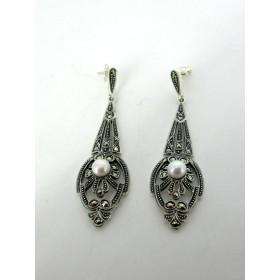 Boucles d'oreilles Vintages Pendantes en Argent et Perles
