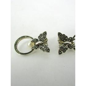 Boucles d'Oreilles Vintage Papillons avec Perles