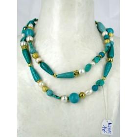 Sautoir Vintage Art Déco avec Turquoises et Perles