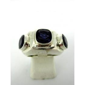 Bague anneau vintage en argent et zirconium