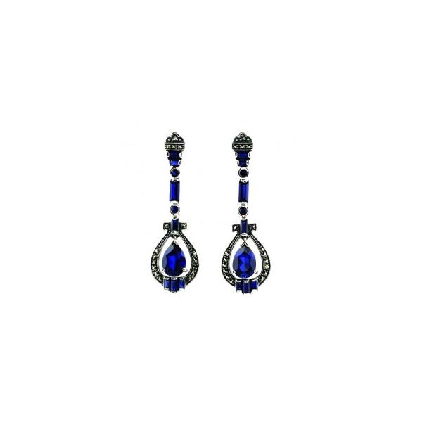 Boucles d'Oreilles Pendantes en Argent et Zirconium Bleu