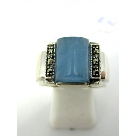 Bague Vintage Rectangulaire en Argent et Jade Bleue