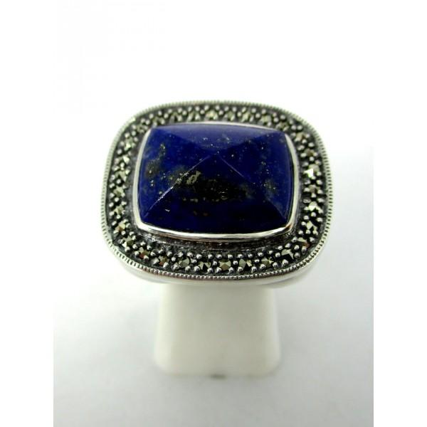 Bague Art Déco en Argent et Lapis Lazuli