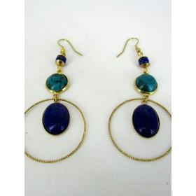Boucles d'Oreilles Pendantes Vintages en Lapis Lazuli