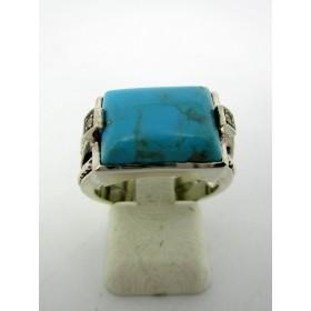 Bague Tank Art Déco en Argent et Turquoise