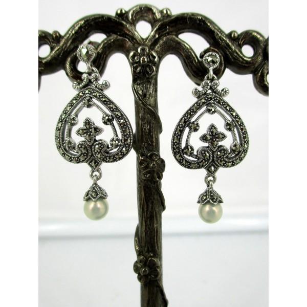 Boucles d'Oreilles Art Déco avec Perles