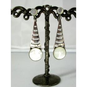 Boucles d'Oreilles pendante à Clips Art Déco en Nacre