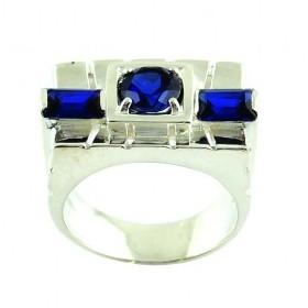 Bague Rectangulaire Vintage en Argent et Zirconium Bleu