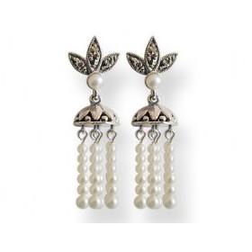 Boucles d'Oreilles Pampilles en Perles de Culture et Argent