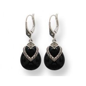 Boucles d'oreilles Art Déco ovale Pendante avec Onyx