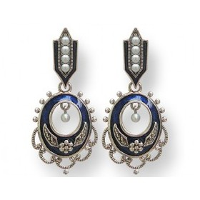Boucles d'Oreilles Art Déco en Perles de Culture et émail