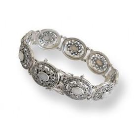 Bracelet Femme Ovale Art Déco en Argent et Opale