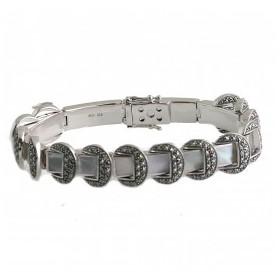Bracelet Art Déco pour femme en Argent et Nacre