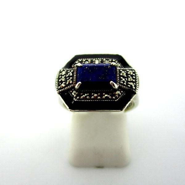 Bague vintage en argent avec pierre en lapis lazuli et onyx