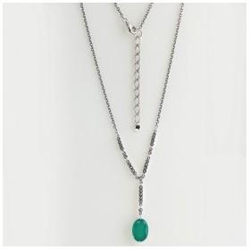 Collier de style Vintage pour Femme avec Agate verte