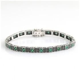 Bracelet Vintage pour femmes avec émeraudes et argent