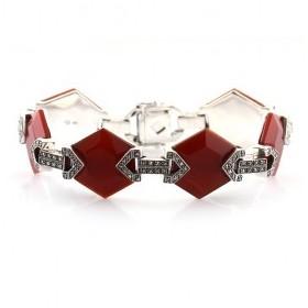 Bracelet Vintage Octogonale pourFemme en Argent et Cornaline