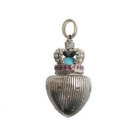 pendentif sans chaines en Argent avec Perles de Culture et Rubis