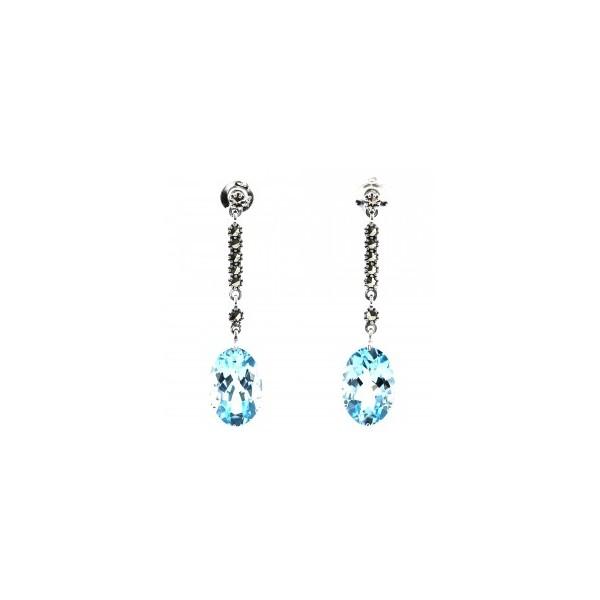 Boucles d'oreilles Pendantes en Argent et Topazes Bleues