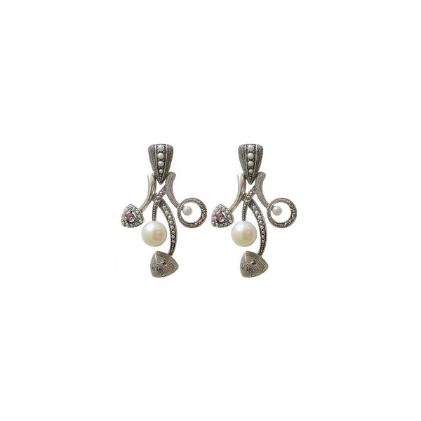 Boucles d'Oreilles Rétros avec Rubis et Perles de Culture