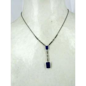 Collier Long Art déco femme en Argent et Lapis lazuli