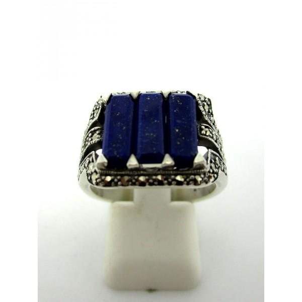 Bague Vintage trilogie en Argent et Lapis Lazuli