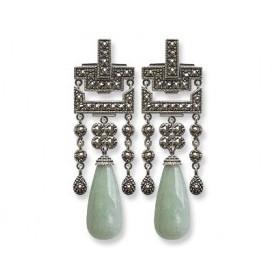 Boucles d'oreilles Pampille femme pendantes en Argent et Jade