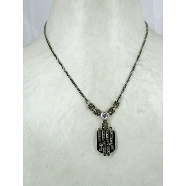 Collier femme Long Art déco en Argent et Onyx et Zirconium