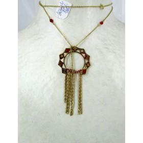 Collier femme Vintage en plaqué Or et Rubis