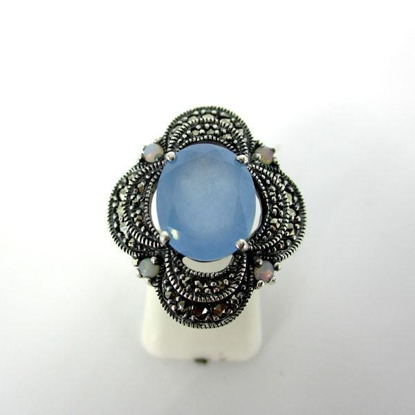 Bague rétro rosace en argent et jade bleue