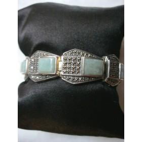 Bracelet en argent, jade lavande et marcassites