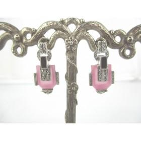 Boucles d'Oreilles Art Déco ornées de pierres de Jade rose
