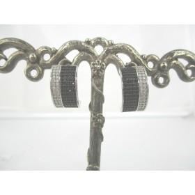 Boucles d'Oreilles Art Déco en Argent 925 et Zirconium