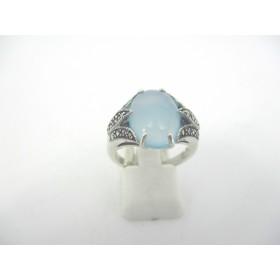 Bague Vintage en Argent Ornée  de Jade Bleu