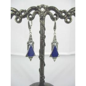Boucles d'Oreilles Triangulaire Art déco en Argent et lapis lazuli