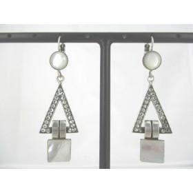 Boucles d'Oreilles Triangulaire Art Déco avec Pierre de Nacre