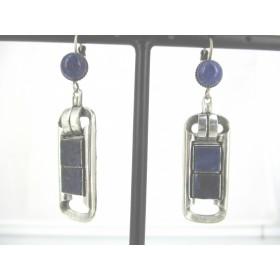 Boucles d'oreilles Art déco avec pierre de Lapis Lazuli
