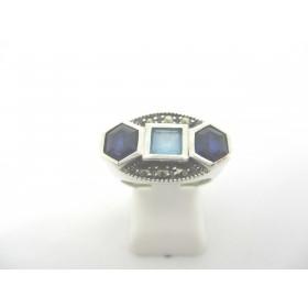 Bague Ovale Rétro en Argent avec Topaze et Lapis Lazuli