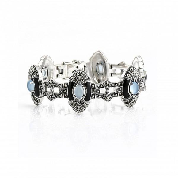 Bracelet en argent avec Agates bleue, émail noir