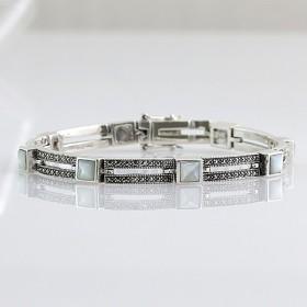 Bracelet en argent et nacre