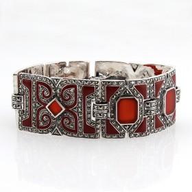 Bracelet en argent avec Cornaline et émail