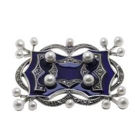 Broche Art déco en Argent  avec Perles de Culture et émail