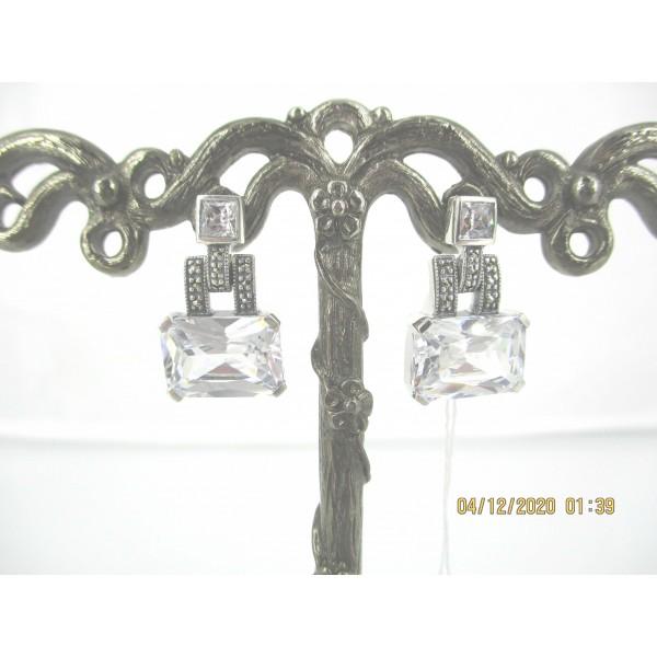 Boucles d'oreilles Vintage en argent et Zirconium