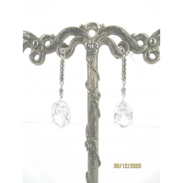 Boucles d'Oreilles Vintage Pendantes Femme en Argent et Zirconium