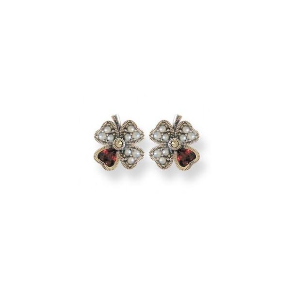 Boucles d'oreilles anciennes Trèfles en Argent avec Perles et Grenats