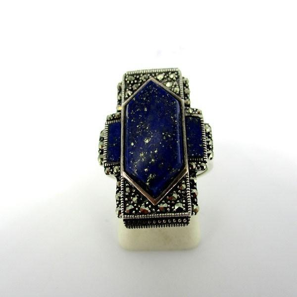Bague art déco rectangulaire en argent et lapis lazuli