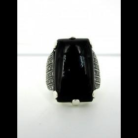 Bague rectangle vintage argent et onyx noir