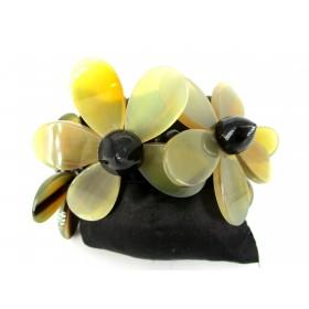 Bracelet Manchette Vintage en Fleurs de Résine